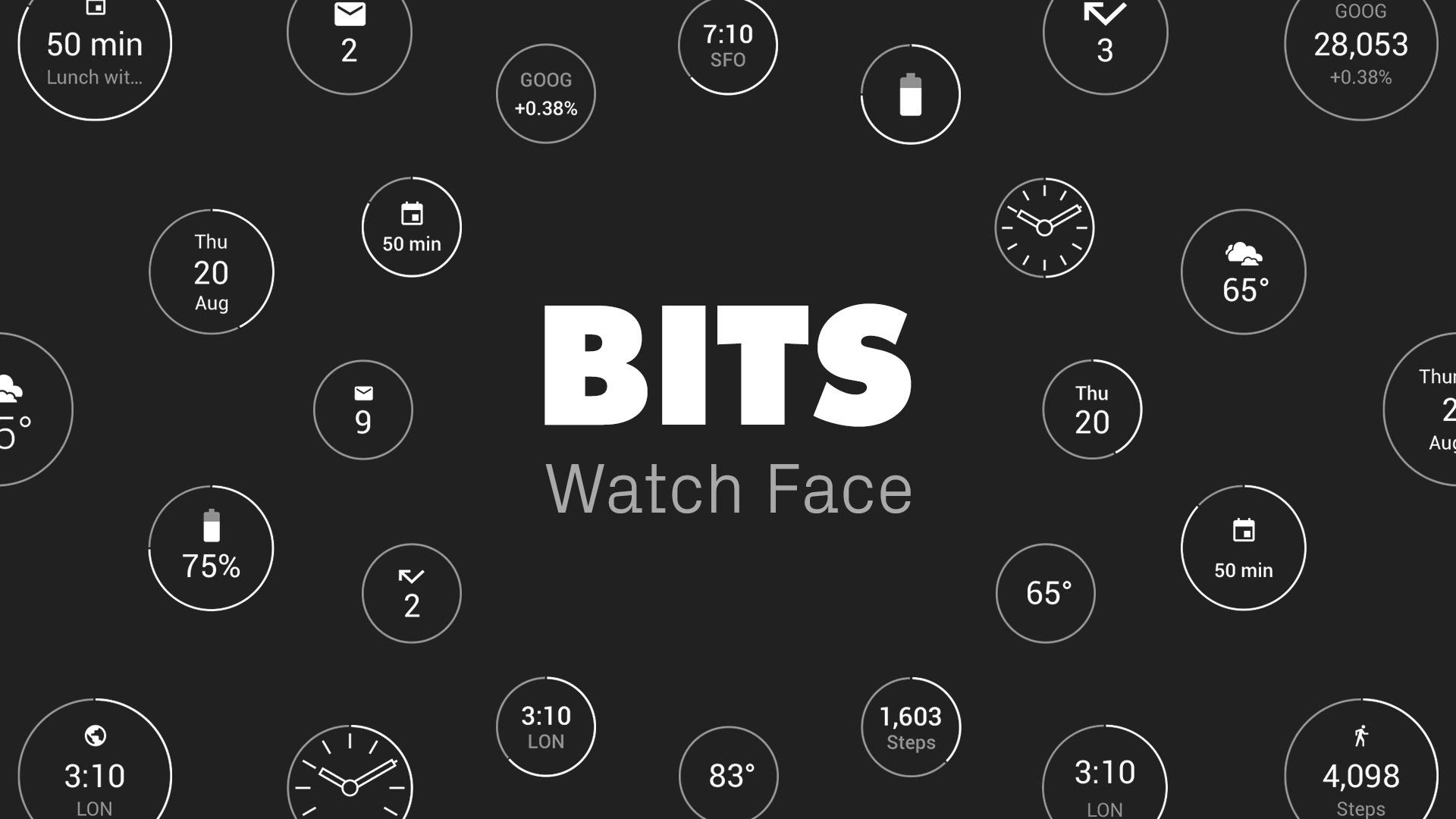 Designer android wear watchface - Bits Watch Face For Android Wear