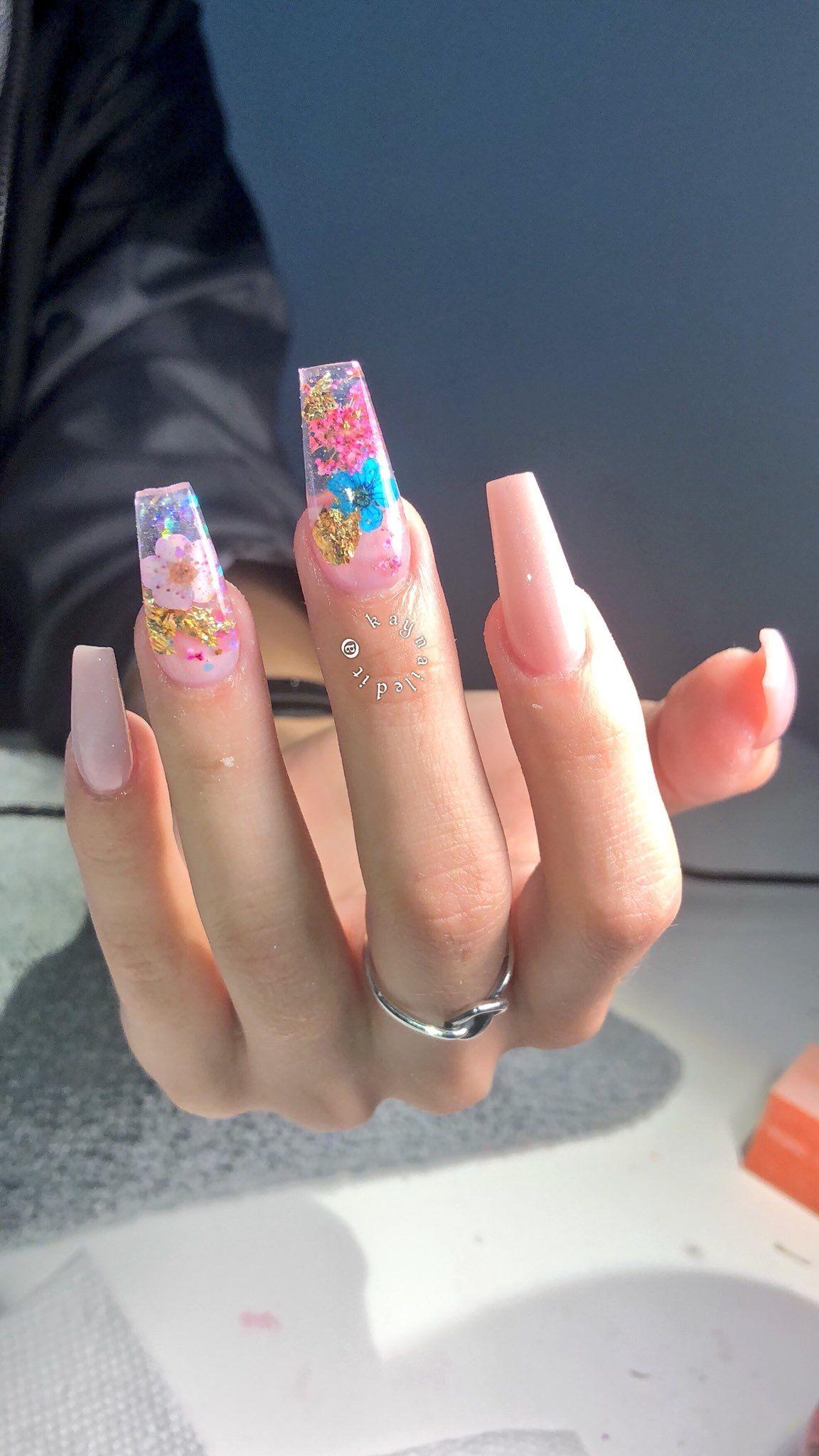 Pink Sparkly Medium Length Cute Acrylic Nails Birthday Nail Art