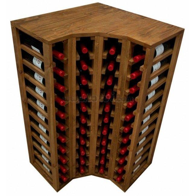 Botellero esquinero godello 44 botellas muebles para - Botellero de madera para vino ...