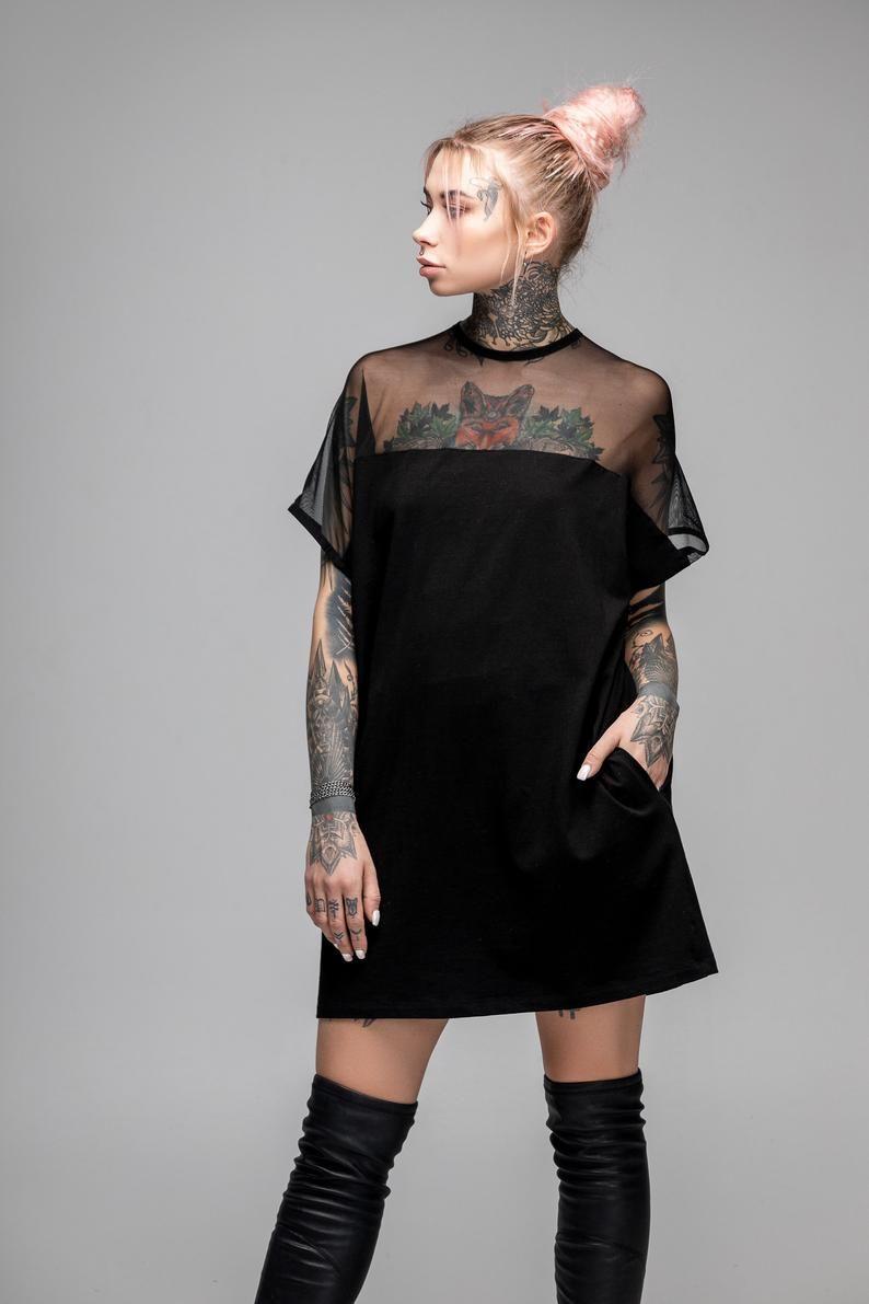 Black T Shirt Dress Futuristic Tunic Sheer Top Mesh Goth Dress Oversized Boho Mini Dress Post Apocalyptic Cyberpunk Clothing A0246 Mini Shirt Dress Futuristic Fashion Women Mini Dress [ 1191 x 794 Pixel ]