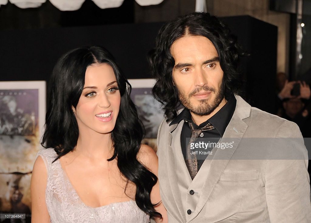 Singer Katy Perry and comedian Russell Brand arrives at the Los Angeles premiere of 'The Tempest' held at the El Capitan Theatre on December 6, 2010 in Hollywood, California.