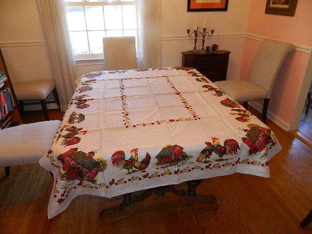 """Vtg Tablecloth Beige COTTON LINEN nearly mint  52 x 70"""" Roosters Barn Chickens  