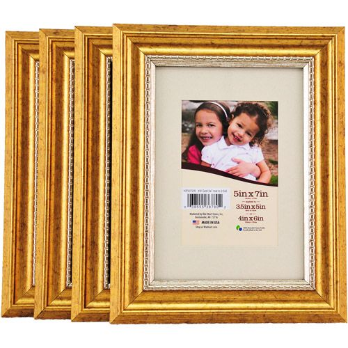 5x7 Matted Gold Picture Frames, Set of 4 Walmart 5x7 $12