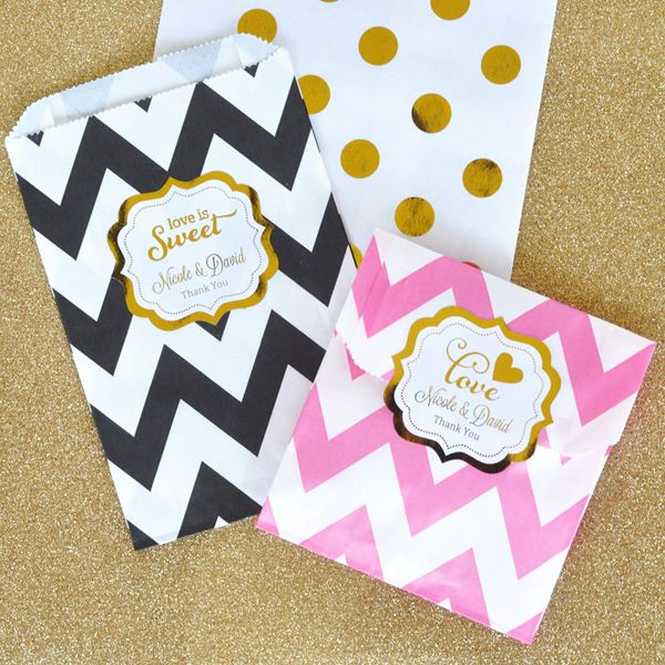 Personalized Metallic Foil Wedding Chevron & Dots Goodie Bags