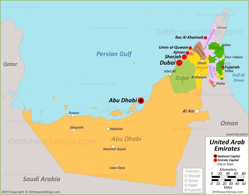 Map Of Uae Political Map Dubai Islands Uae