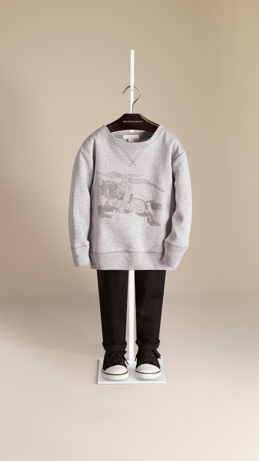 Equestrian Knight Detail Cotton Sweatshirt Burberry