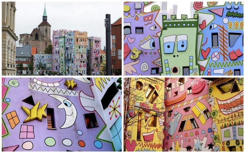 Complex smiling buildings in Germany The Happy Rizzi House is an office complex in Braunschweig (Germany), designed by architect Konrad Kloster and built in 2001. The complex consists of nine interconnected buildings, decorated in a unique way by American artist James Rizzi . The most common element on facades smile, hence the name - The Happy Rizzi House. The facades may encounter and clouds, patches, hearts and butterflies that extra cheer passersby.