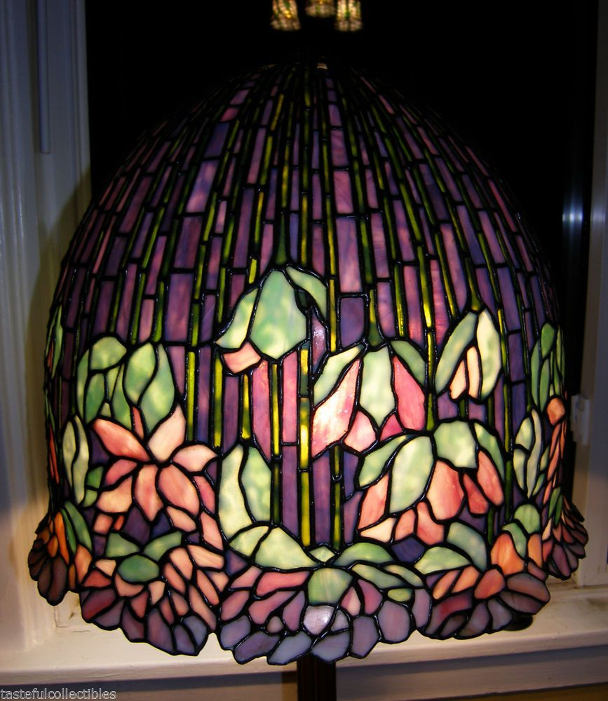 Tiffany Reproduction Stained Glass Lamp Shade Purple Lotus Odyssey