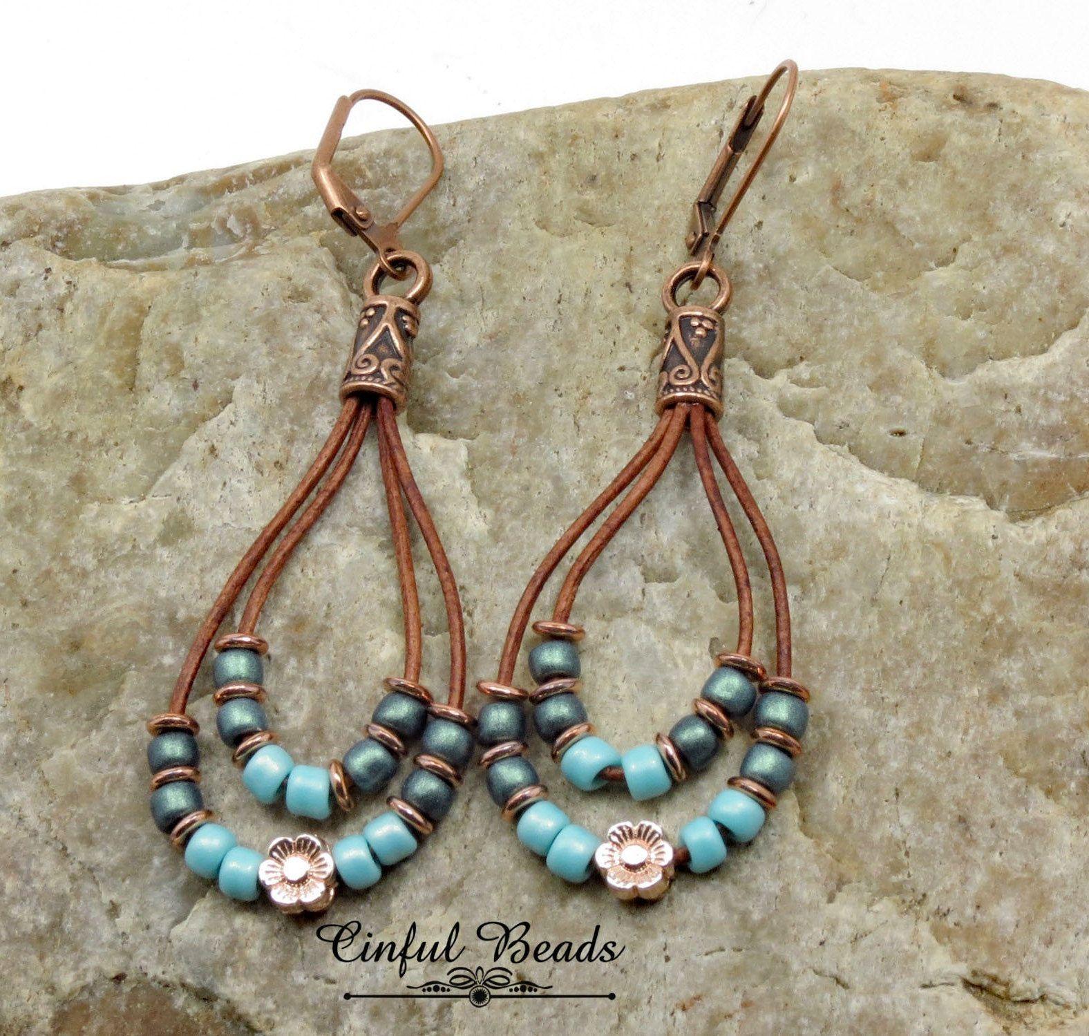 Autumn Earrings Bohemian Earrings Boho Green Earrings Vintage Earrings Copper Green Earrings Christmas Gift Copper Leverback Earrings