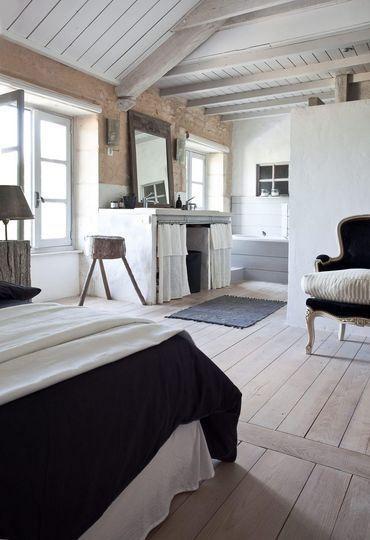 separation salle de bain chambre style campagne deco pinterest chambre salle et mobilier. Black Bedroom Furniture Sets. Home Design Ideas