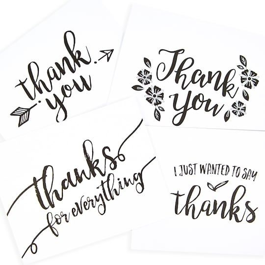 Purchase the Black A2 Thank You Cards & Envelopes By Recollections™ at Michaels. com. With so much to be thankful for, these cute cards and envelopes by Recollections™ are perfect to express your gratitude. With so much to be thankful for, these cute cards and envelopes by Recollections™ are perfect to express your gratitude. Write a personal message on the blank card and send it to your near and dear ones this festive season. Details:Black and white, Assorted designs, 40 sets (10 of each design