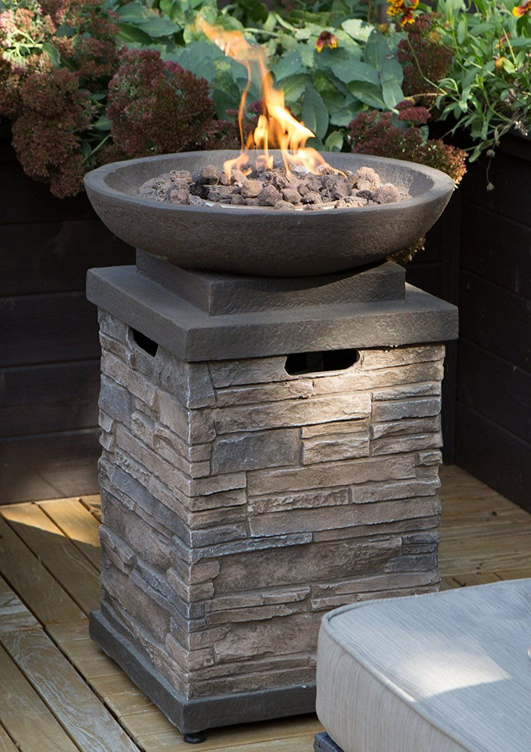 Realistic Stone Like Outdoor Patio Fire Pit Bowl With Free Cover Get Ready For Entertainment In Your Backyard Propane Fire Bowl Backyard Fire Propane Fire Pit