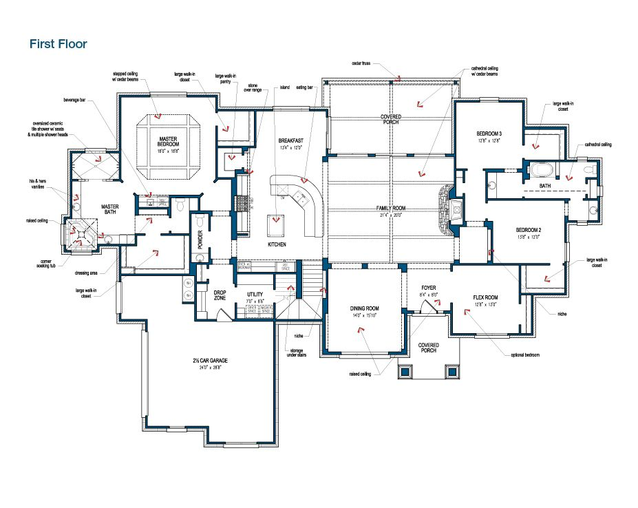 Tilson Homes The Marquis 3 3 5 W Flex And Bonus Room 4457 Sq Ft Stone Wall W Cedar Beams Over The Kitchen C Floor Plans Custom Home Builders House Plans