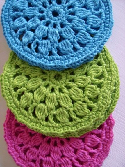 I Love These And They Would Make Great Trivets The Colors Are Simple Crochet Coaster Pattern