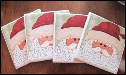Easy Tile Coasters Made with Drink Napkins.......I am Soooo doing this for Christmas gifts!!!
