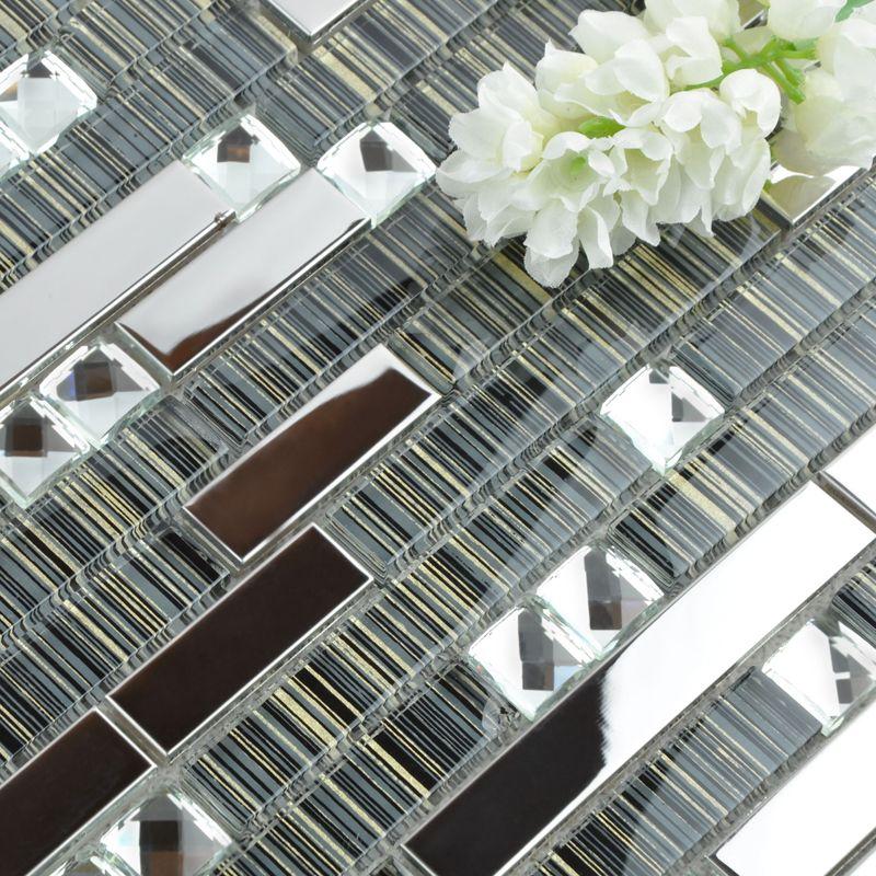 Metallic Backsplash 304 Stainless Steel Sheet Metal And Crystal Glass Blend Mosaic Diamond Glass Mosaic Tile Backsplash Glass Mosaic Tiles Metallic Backsplash