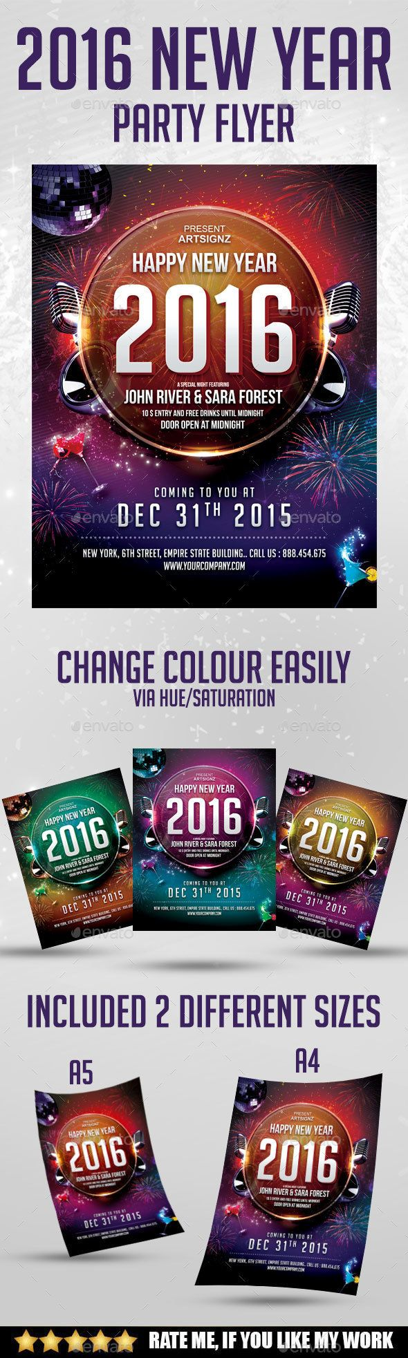 New Year Party Flyer  Party Flyer Flyer Template And Font Logo