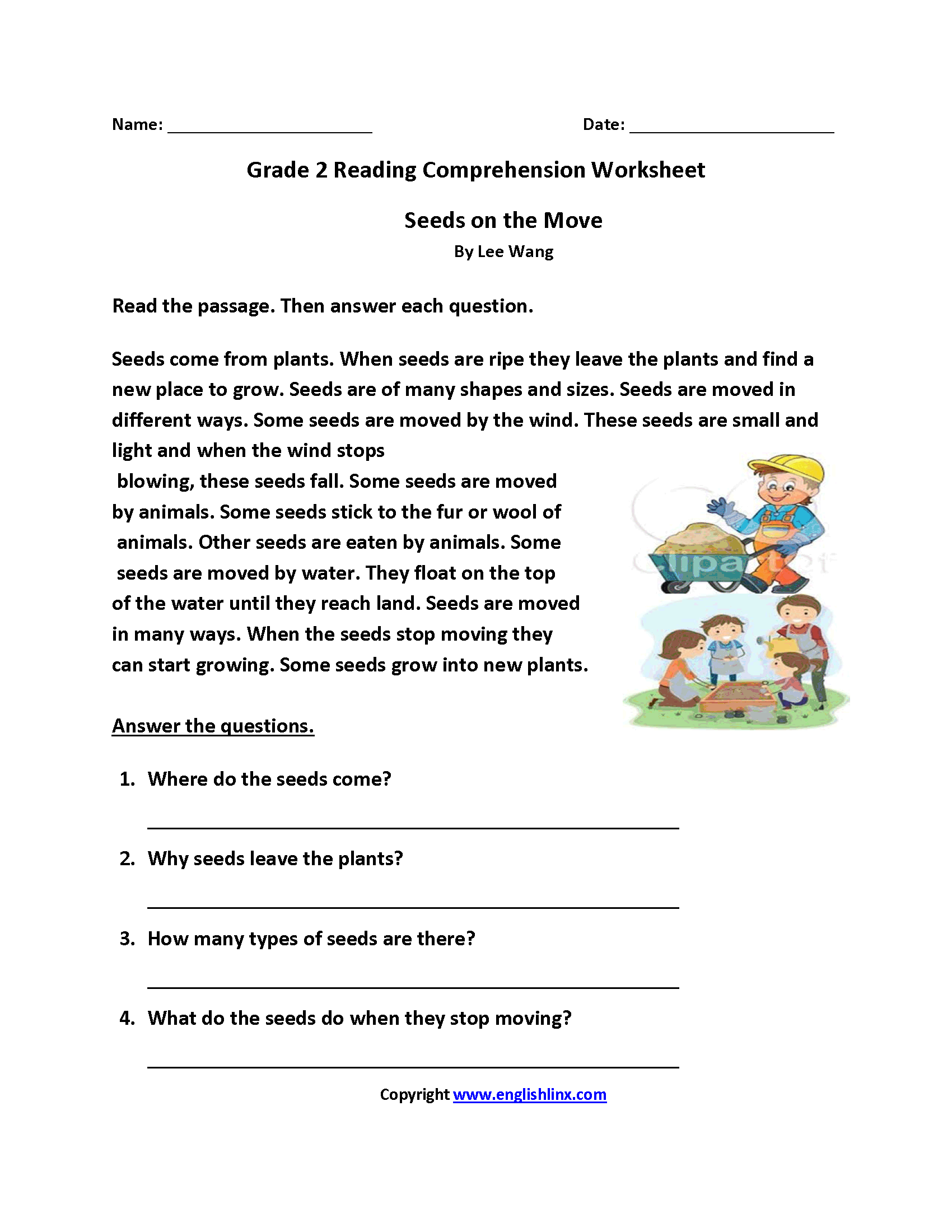 Seeds On Move Second Grade Reading Worksheets