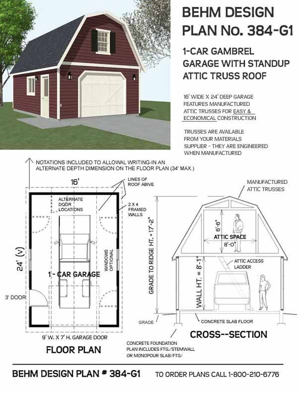 Gambrel roof 1 car garage plan no 384 g1 16 39 x 24 39 for 16 car garage