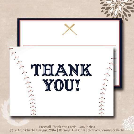 Printable Baseball Theme Thank You Cards - Personalized Baseball ...