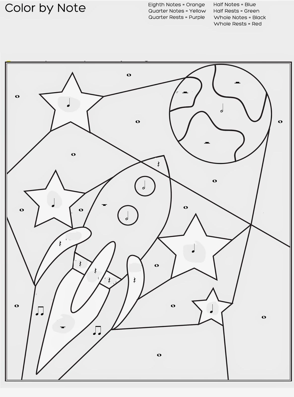Free Printable Color By Note Worksheet For Music Lessons