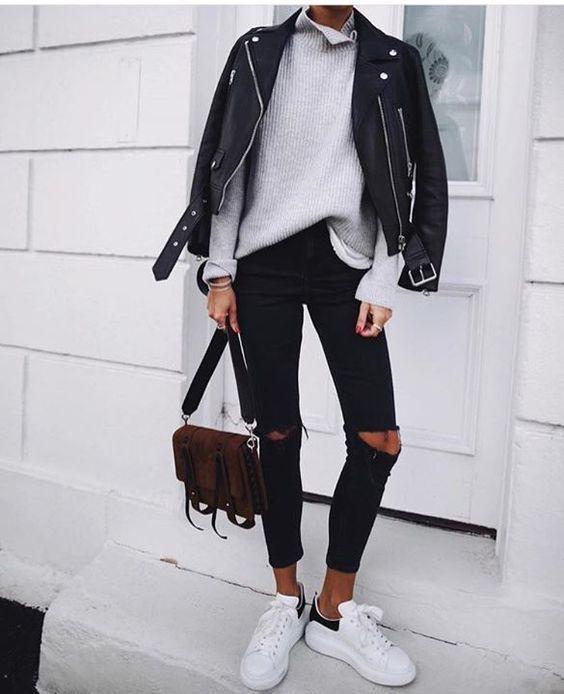 Womens Motorcycle Style Black Faux Leather Moto Jacket #leatherjacketoutfit