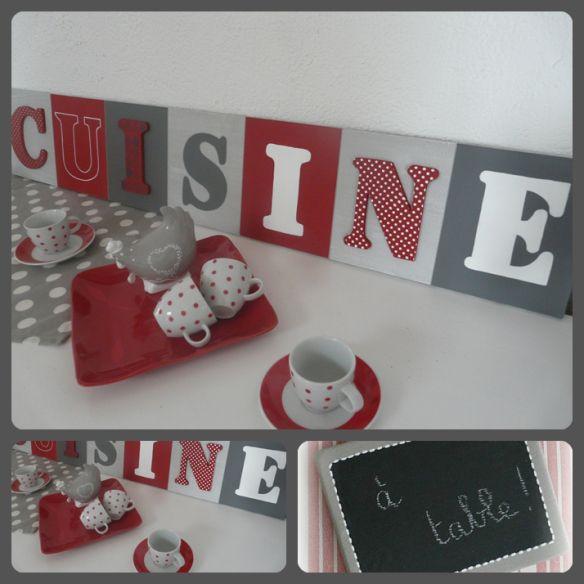 Tableau cuisine rouge et gris dans ma future maison for Decoration de cuisine rouge et gris
