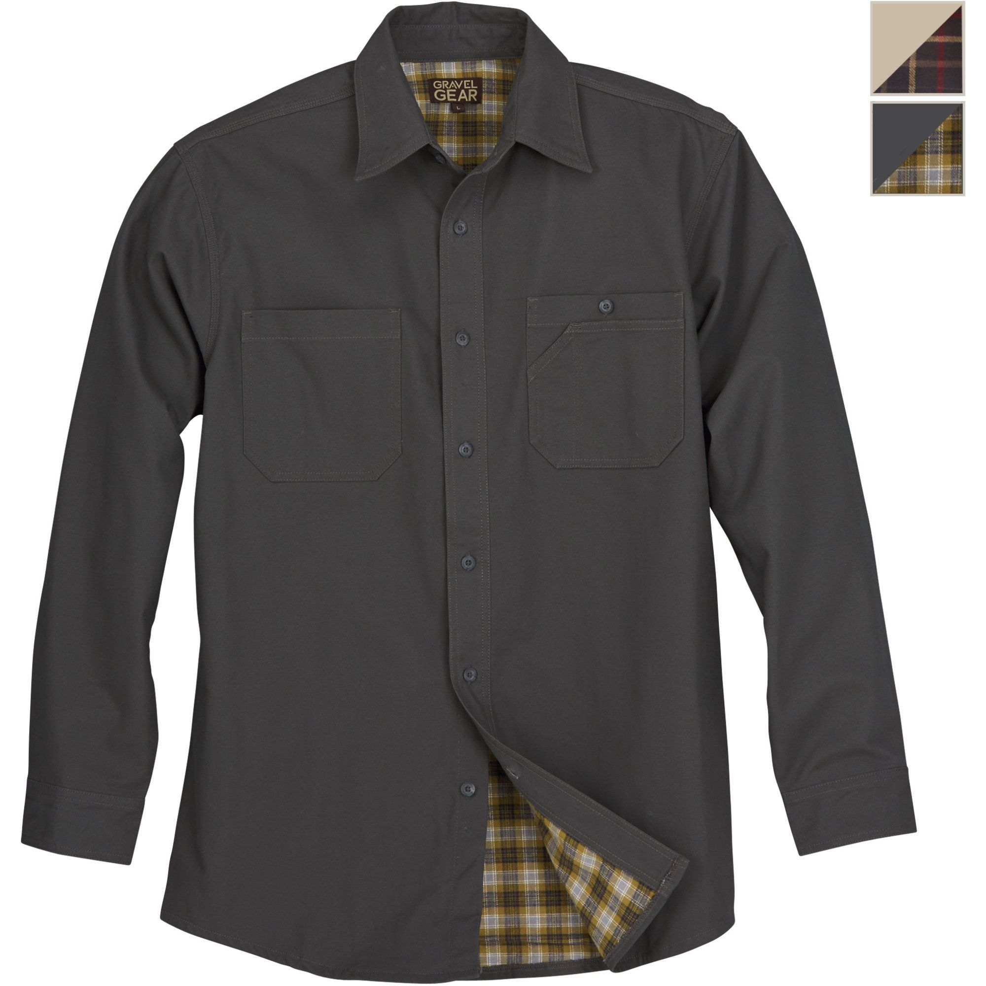 Free Shipping Gravel Gear Flannel Lined Cotton Canvas Shirt Jacket Long Sleeve Button Down Shirts Shirt Jacket Canvas Shirts Shirts