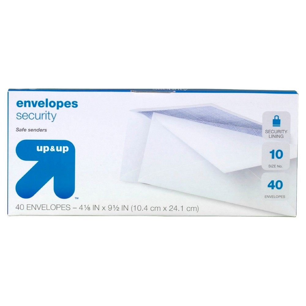 9.5 Security Envelopes - 40 Count - up & up, White