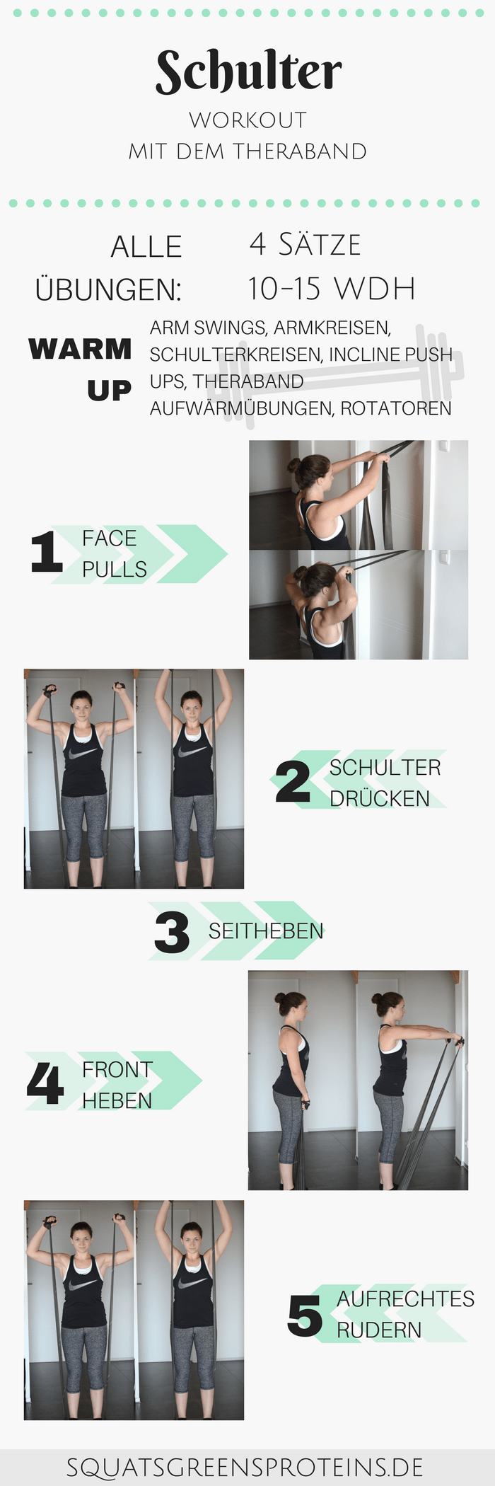 Anfänger Schulter Workout mit dem Thera-Band - Squats, Greens & Proteins by Melanie -