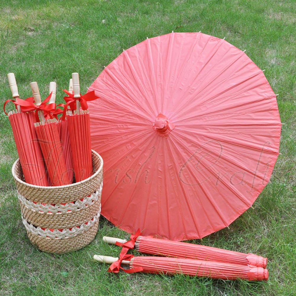 Details about A Red color paper parasol / umbrella with ribbon 33 ...