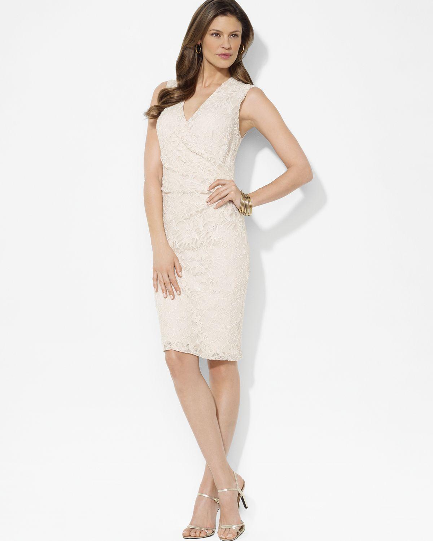 e5b94f03f037 Lauren By Ralph Lauren Sequined Lace Shirred Surplice Dress in Beige (cream)