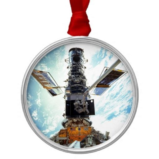 Hubble Space Telescope and astronauts Metal Ornament | Astronomy ...