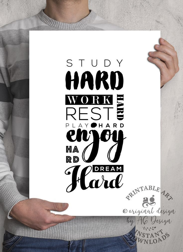 Work Hard Play Hard Print, Study Room Printable, Dream