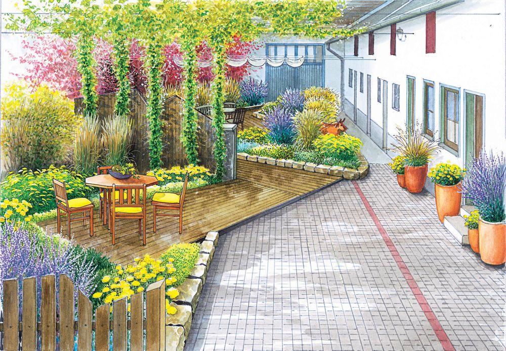 Gestaltungsideen Fur Einen Innenhof Innenhof Gartengestaltung Kiesgarten