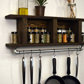 Modern Industrial Kitchen Shelf Pot Rack Wall Spice Rack
