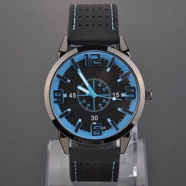 USA Waterproof Black Silicone Stainless Steel Sport Quartz Blue Wrist Watch #SENJUE #Sport