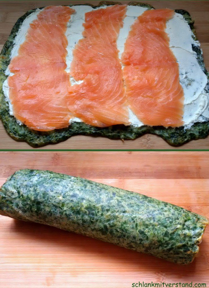 low carb Spinat-Lachs-Rolle #gezondeten
