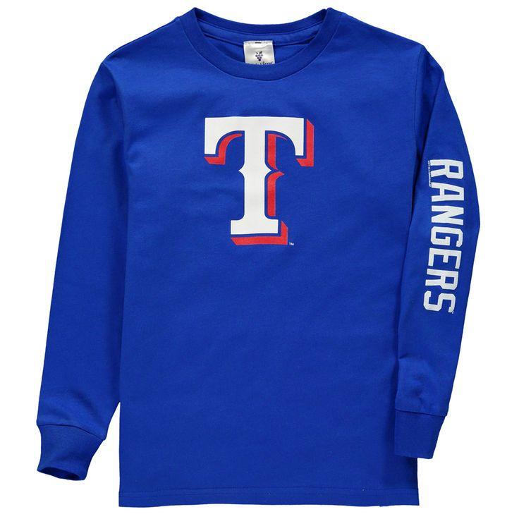 Texas Rangers Soft as a Grape Youth Sleeve Hit Long Sleeve T-Shirt - Royal - $24.99