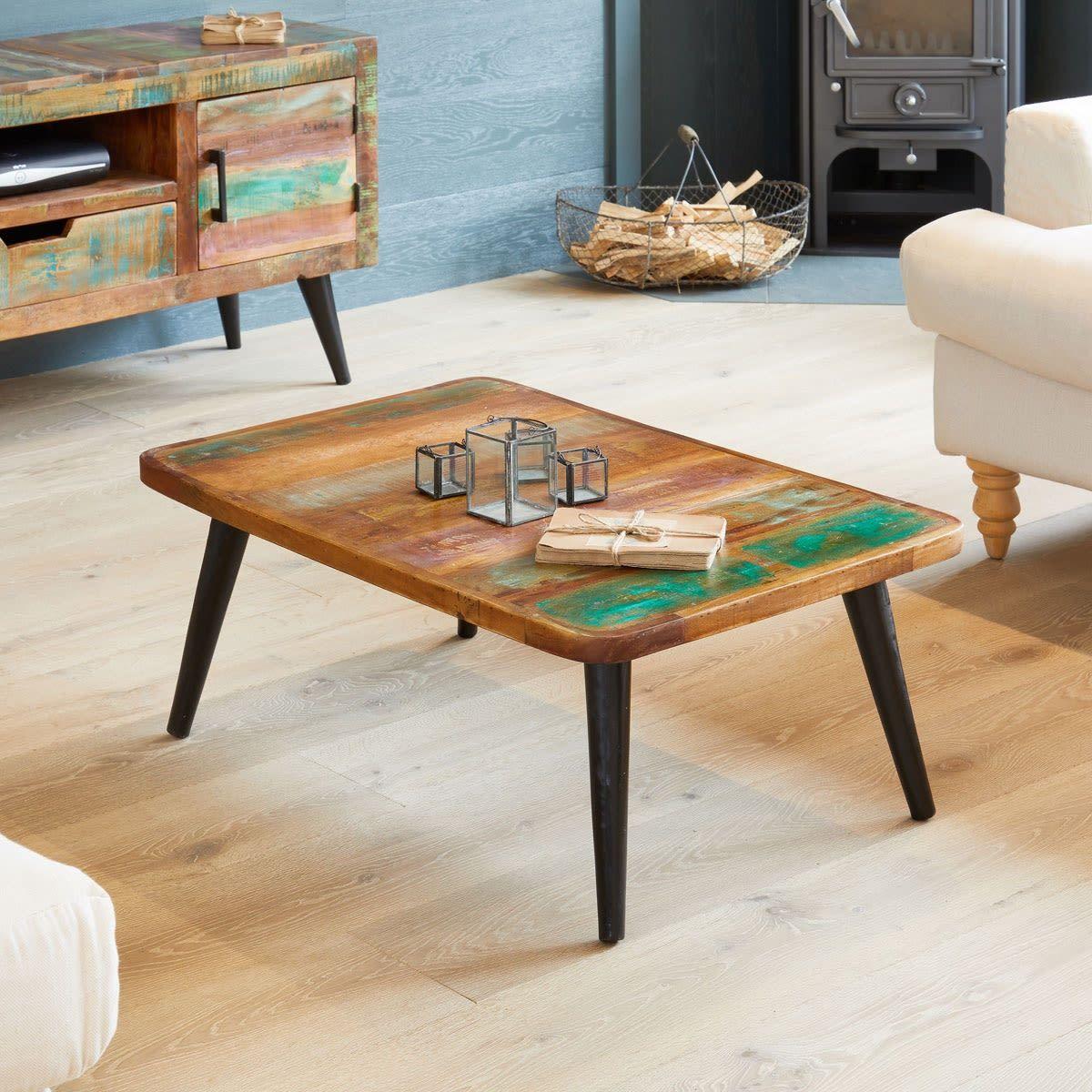 Coastal chic coffee table reclaimed wood coffee table