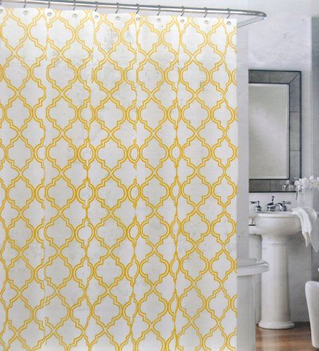 Cynthia Rowley Cotton Fabric Shower Curtain Yellow Quatrefoil