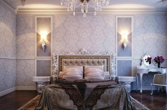 wohnideen für schlafzimmer luxus flieder farbe deko tapeten ...