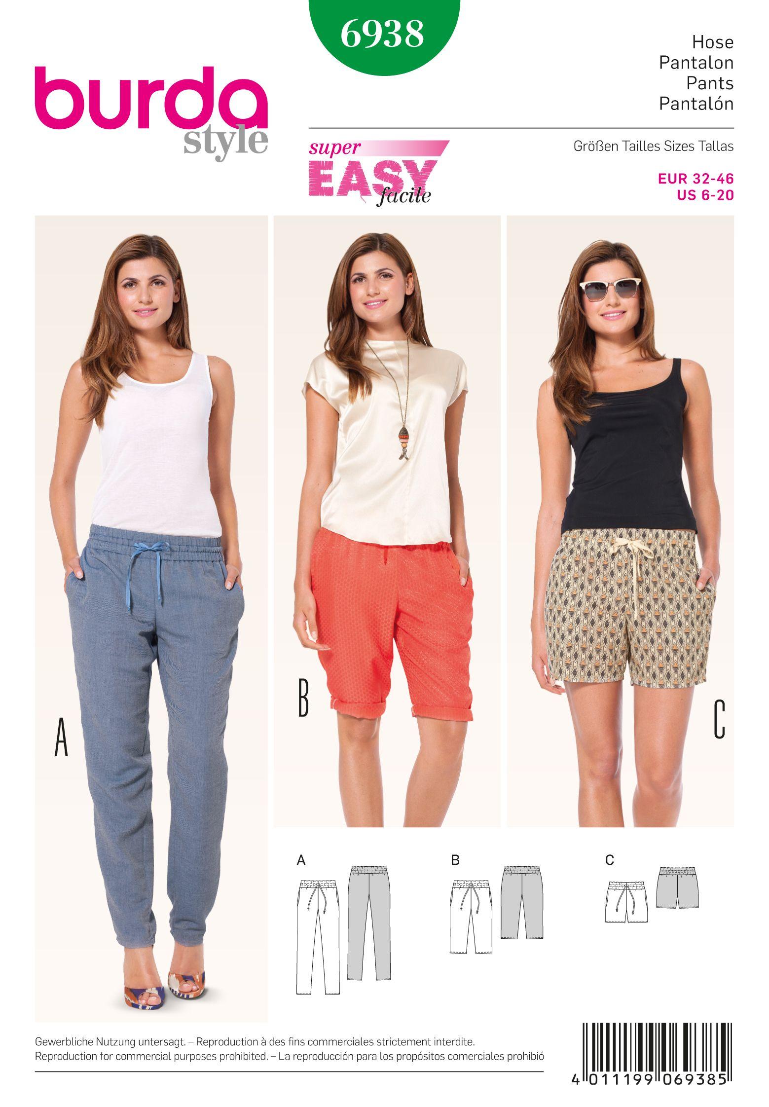 Burda 6938 Pants   Sewing patterns, Patterns and Diy clothing