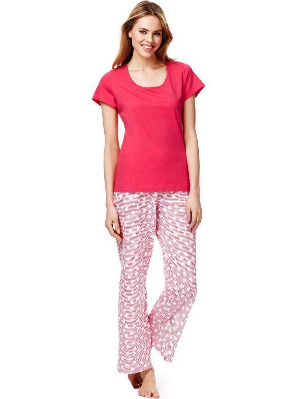Pure Cotton Heart & Striped Pyjamas