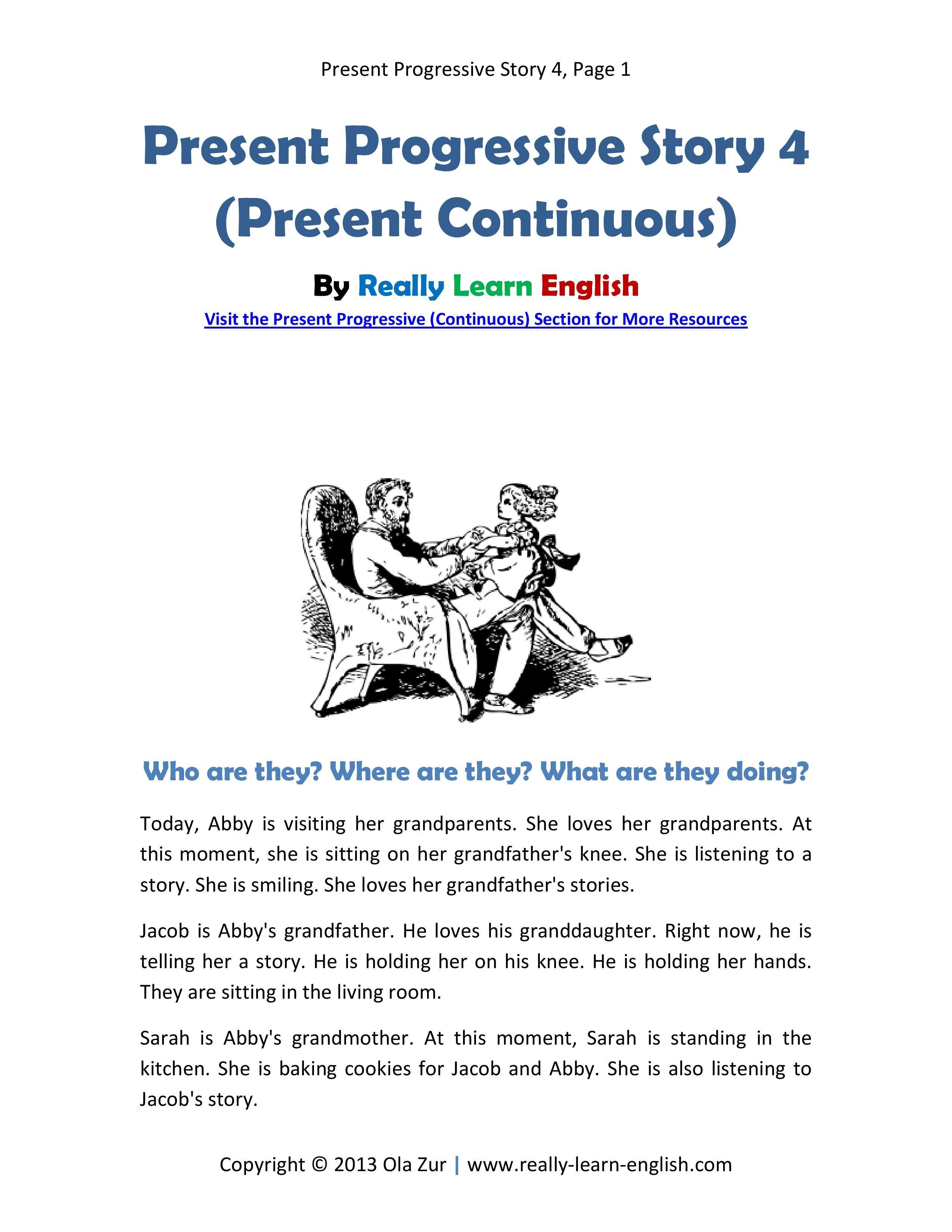 English ESL story in the Present Progressive Tense Printable – Progressive Verb Tense Worksheets