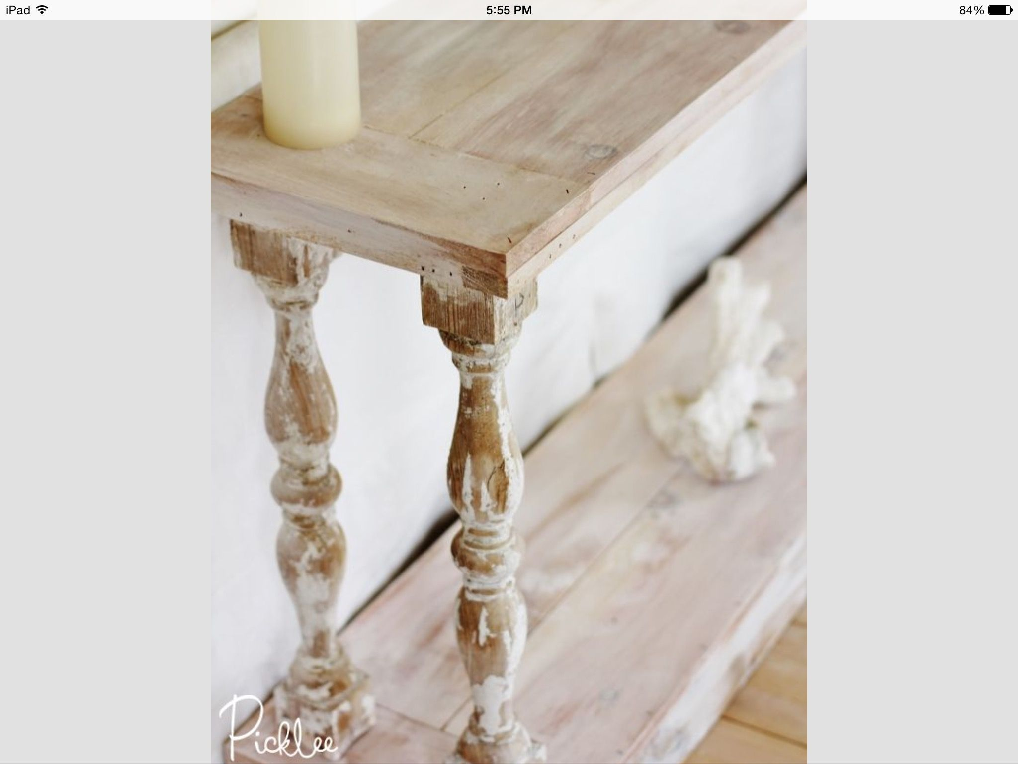 White Washed Sofa Table With Reclaimed Baers