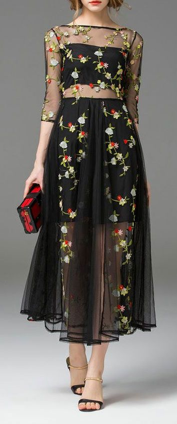 Fl Embroidered Sheer Black Dress