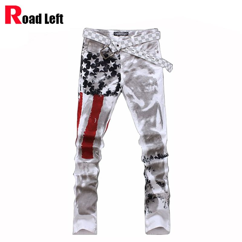 2017 Man fashion casual skinny joggers pants Mens print american flag harem  sweat pants trousers Men