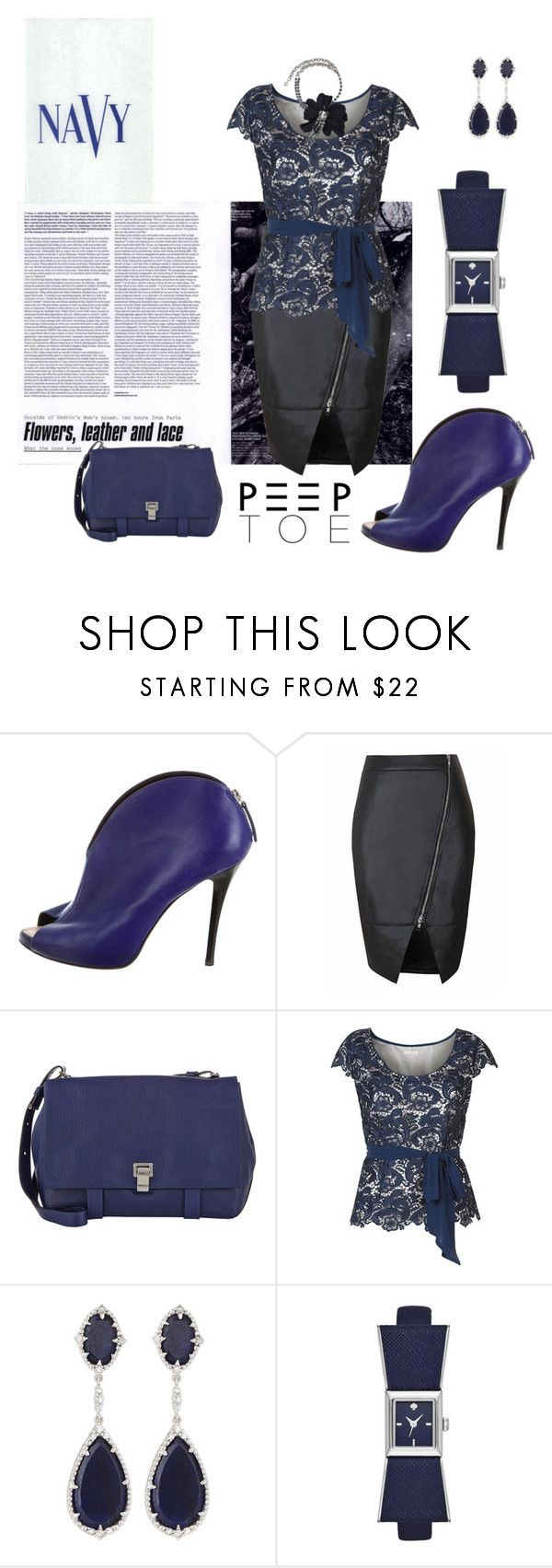 """navy peeptoe pumps"" by agnesmakoni ❤ liked on Polyvore featuring Giuseppe Zanotti, Proenza Schouler, Jacques Vert, Judith Ripka, Kate Spade, Lanvin, COVERGIRL, Pumps and peeptoe"
