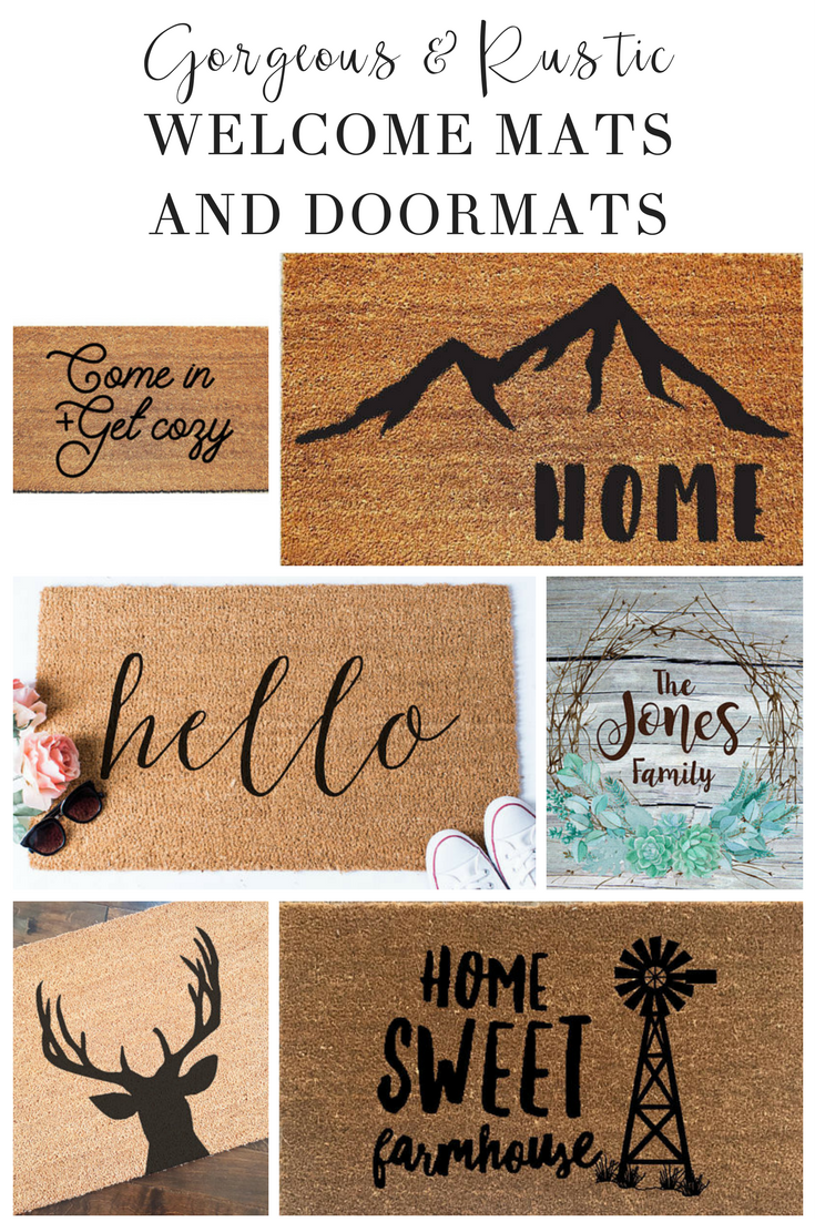 These Welcome Mats Are Cute Country And Perfect For Outdoor Farmhouse Ideas Great For Diy Rustic Decor That S Affordable Door Mat Door Mat Diy Welcome Mats